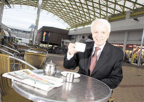 CHEERS: Cwmbran Shopping centre's manager Gerry Hutchings, who has retired after 17 years