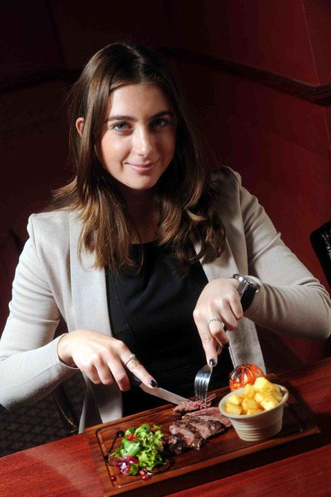 POPULAR: Reporter Sophie Brownson tucks into horsemeat at The Roman Lodge Hotel, Caerleon