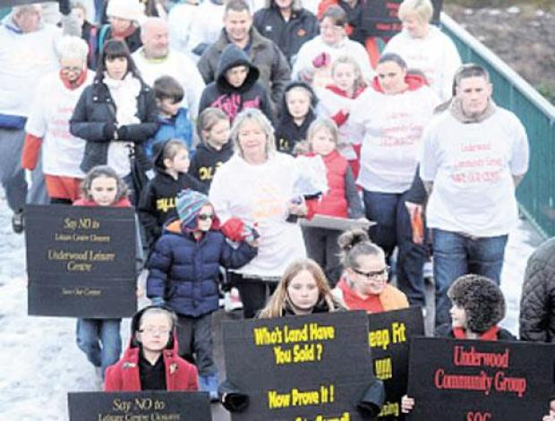 South Wales Argus: PEOPLE ON MARCH: Protest against the closure of Underwood Leisure Centre