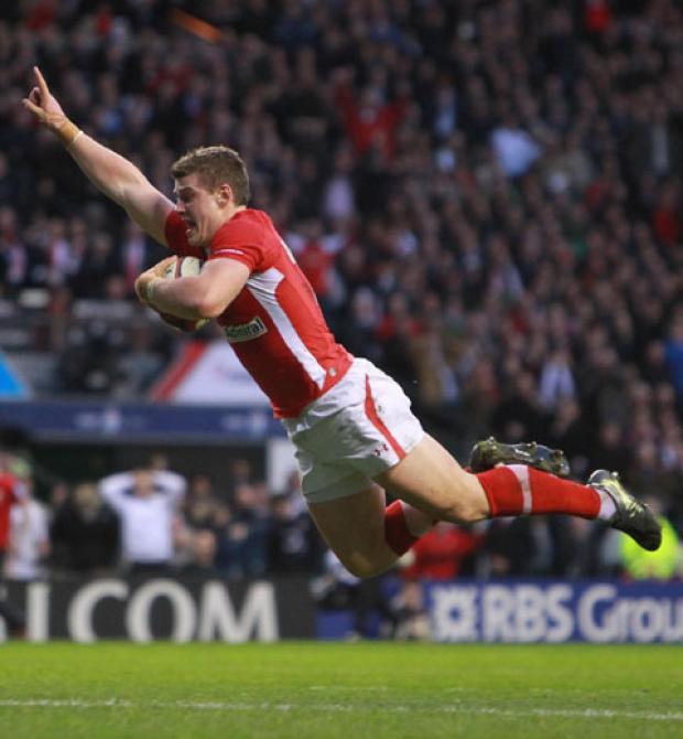 MOMENT TO SAVOUR: Scott Williams scores the all-important try that won the game for Wales against England at Twickenham in last year's championship