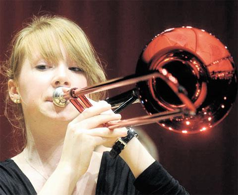 ON TROMBONE: Newport City Big Band member Rhiannon Simmonds