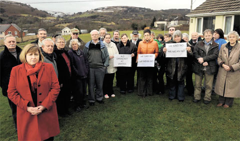 ONLINE PETITION: Some of the opponents of the opencast scheme including, front left, Assembly Member Lynne Neagle