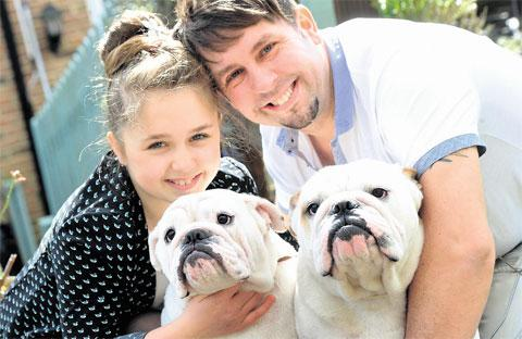 ON SHOW: Lily-Rose Davies and dad Stuart with their bulldogs Baalzebul Theia the Titan, left, and Henlley – The Miz at Baalzebul