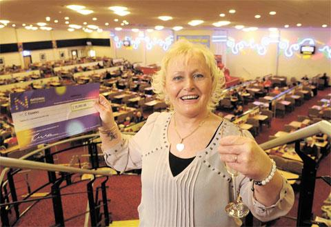 CELEBRATING: Cheryl Knowles, who won the national £25,000 prize at Castle Bingo in Newport