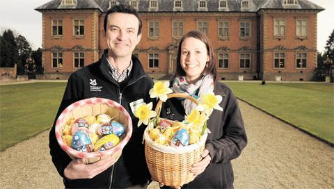 EASTER FUN: Tredegar House acting house manager Drew Thomas and reception supervisor Katie Dunn prepare for the Easter Egg hunt