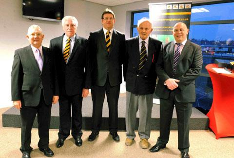 HEROES: Inducted into Newport RFC's 2013 Hall of Fame were, from the left are Colin Taylor, Brian Price, Mark Workman, Ian Ford and Glenn George.