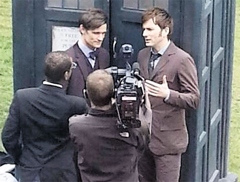 STEP BACK IN TIME: Drs Who - Matt Smith and David Tennant during filming at Chepstow Castle