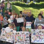 PROTEST: Parents and children voice their opposition to the merger of two Gaer schools