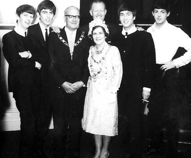 STAR TURN: The Beatles meet the mayor, Jack Thurston, after the Abergavenny gig