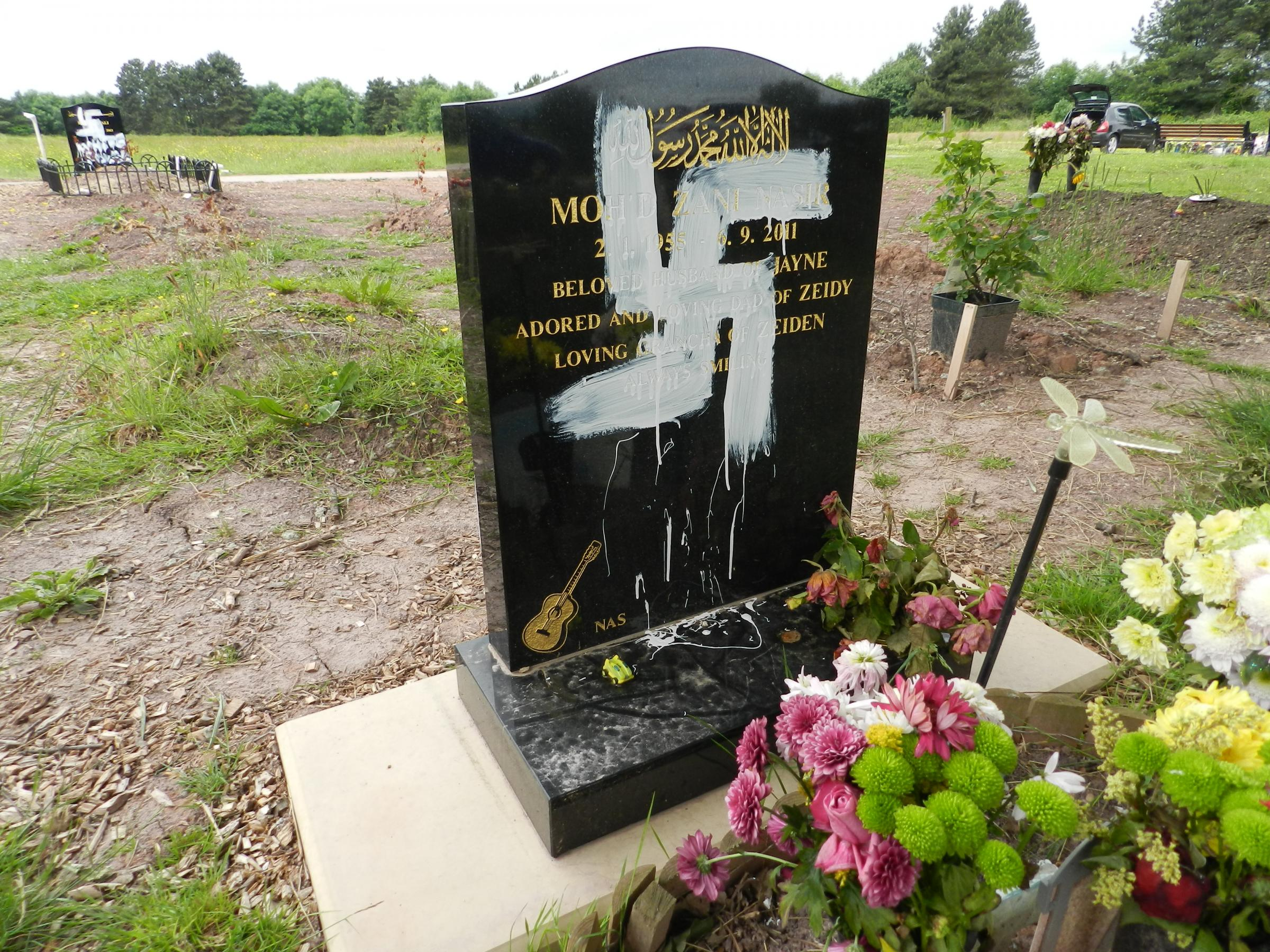 Muslim graves desecrated by racist vandals