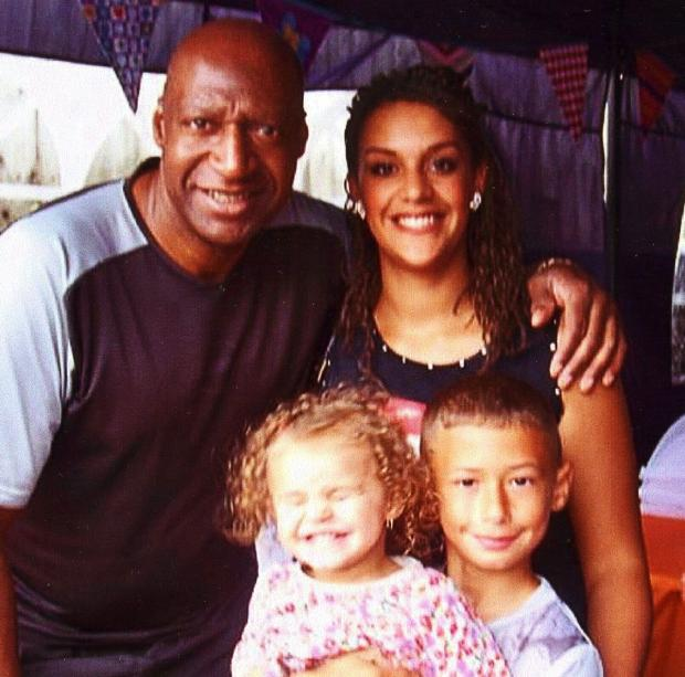 TRIBUTES: Leroy Richardson of Pill, Newport, with his daughter Leanne and grandchildren Liara and Joshua