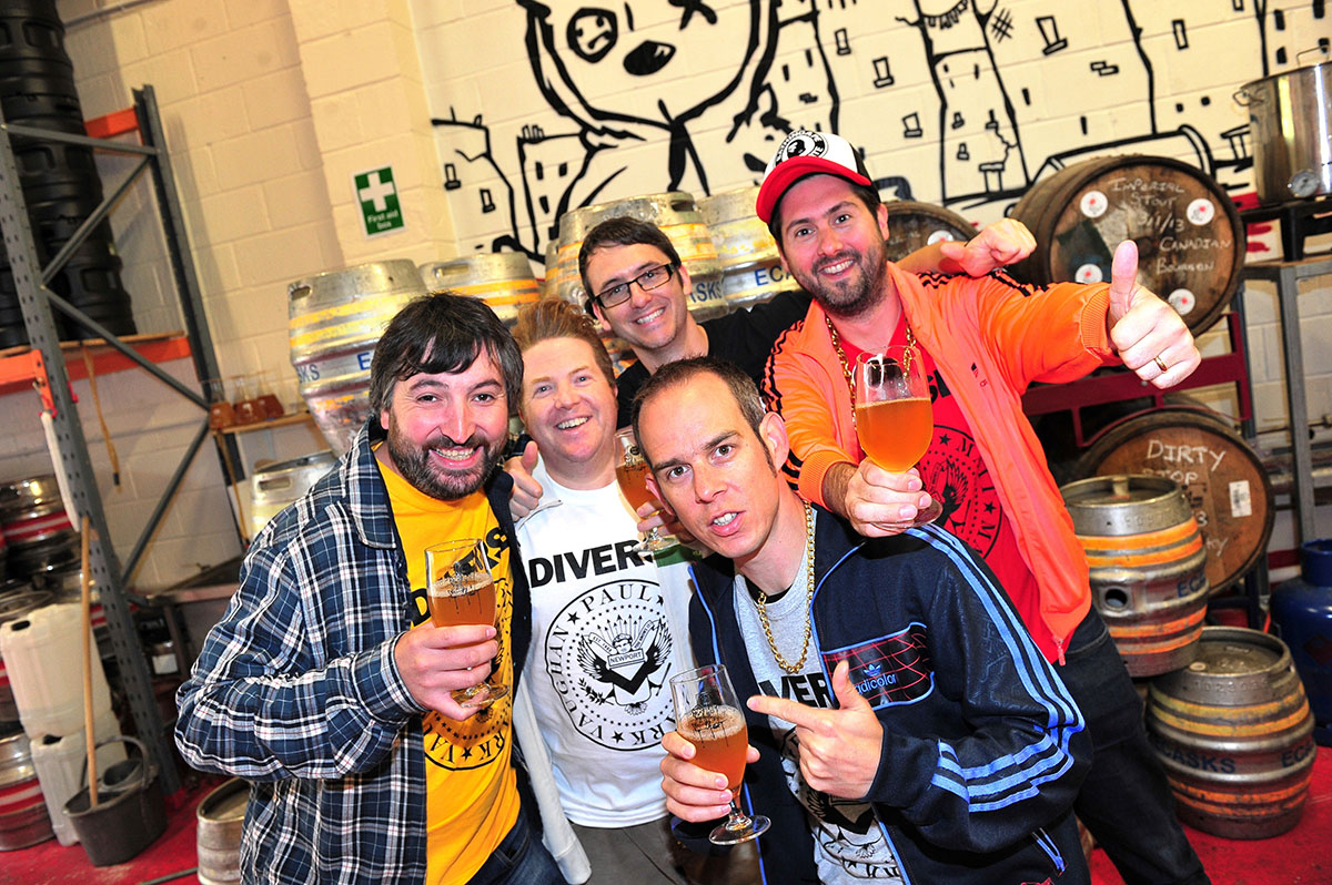 NEW BREW: Gareth Williams of Tiny Rebel is joined by Eggsy and Rhys from GLC and Matt Jarrett and Paul Hawkins of Diverse Music as they launch the Goldie Lookin' Ale (1071058)
