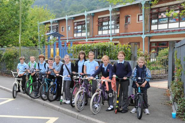Pupils at Risca Primary school are upset that they are no longer allowed to bring their bikes to school (1106249)