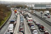 Argus-Mark     15-03-13..Traffic congestion approaching J28 on the M4 after a fatal accident in the Brynglas Tunnels. (8315951)