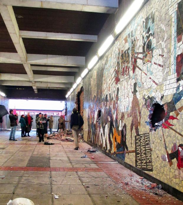 South Wales Argus: TAKEN DOWN: The Chartist mural was demolished in October last year