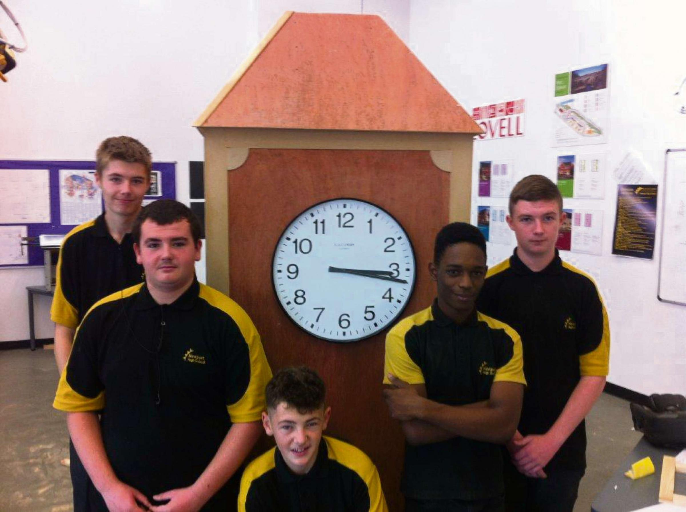 BUILDERS: Newport High students helped to build the clock to be unveiled at Kingsway Shopping Centre