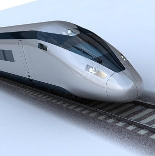 South Wales Argus: An image of the potential HS2 train design, as the Government revealed a key section of the high-speed rail line, in west London, will run in a tunnel