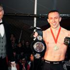 South Wales Argus: Richard Buskin after winning the lightweight UFW champion belt