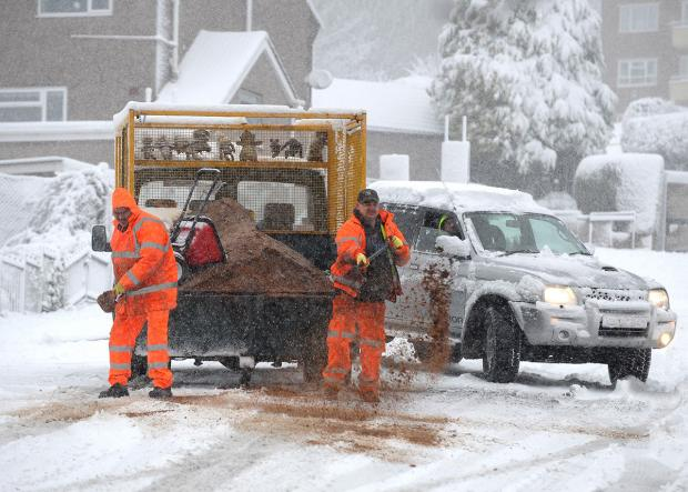 South Wales Argus: COLD SNAP: Gritters were out in force as nine inches of snow fell in the region