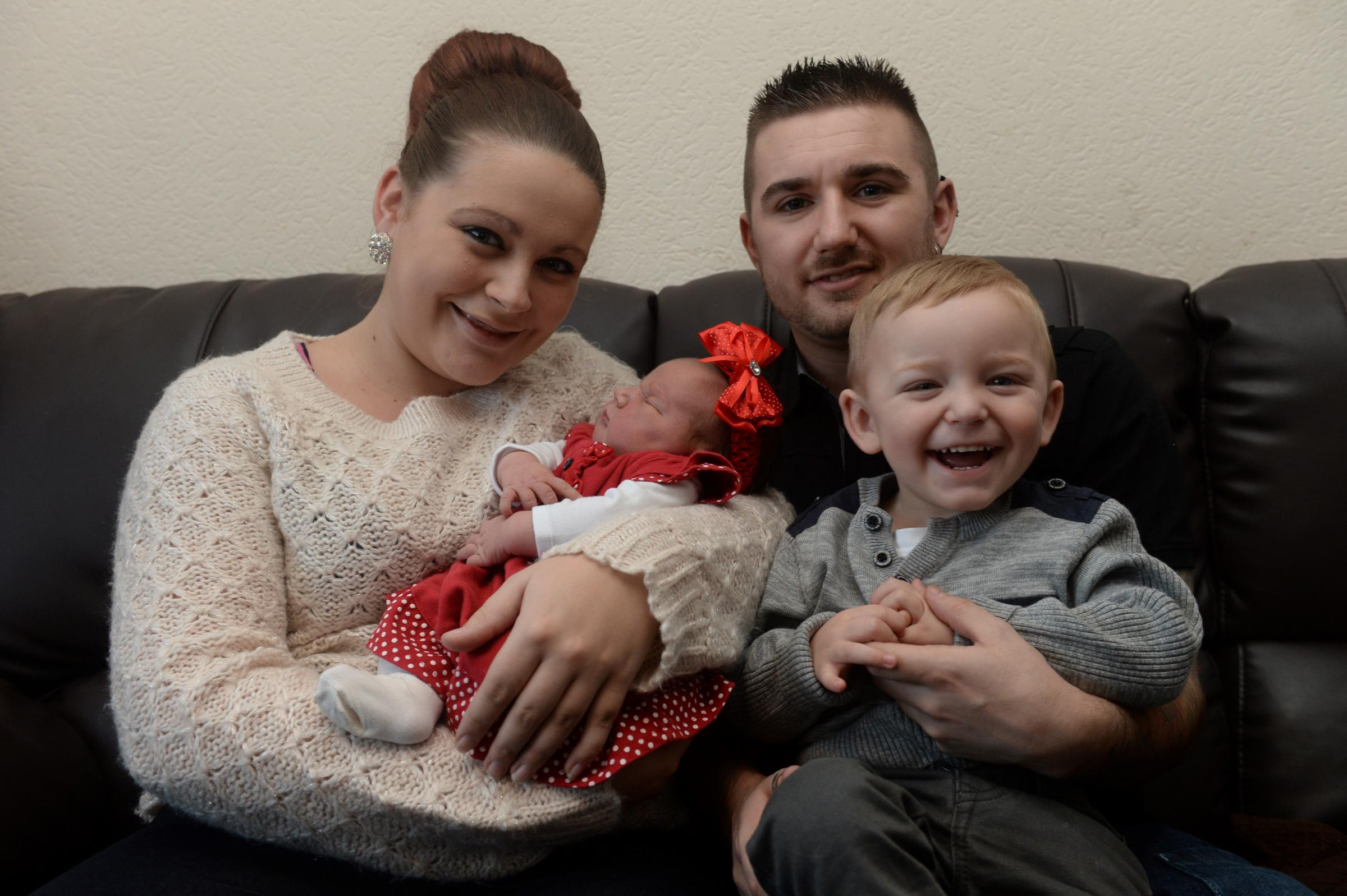 Christmas Babies. Baby Emillie Brehony-Bevan was born at the Royal Gwent Hospital in Newport at 8:01pm on Christmas Day. Baby Emillie Brehony-Bevan with her Mum Hannah Brehony, Dad Aaron Bevan and brother Ollie at home in Bettws. (3169975)