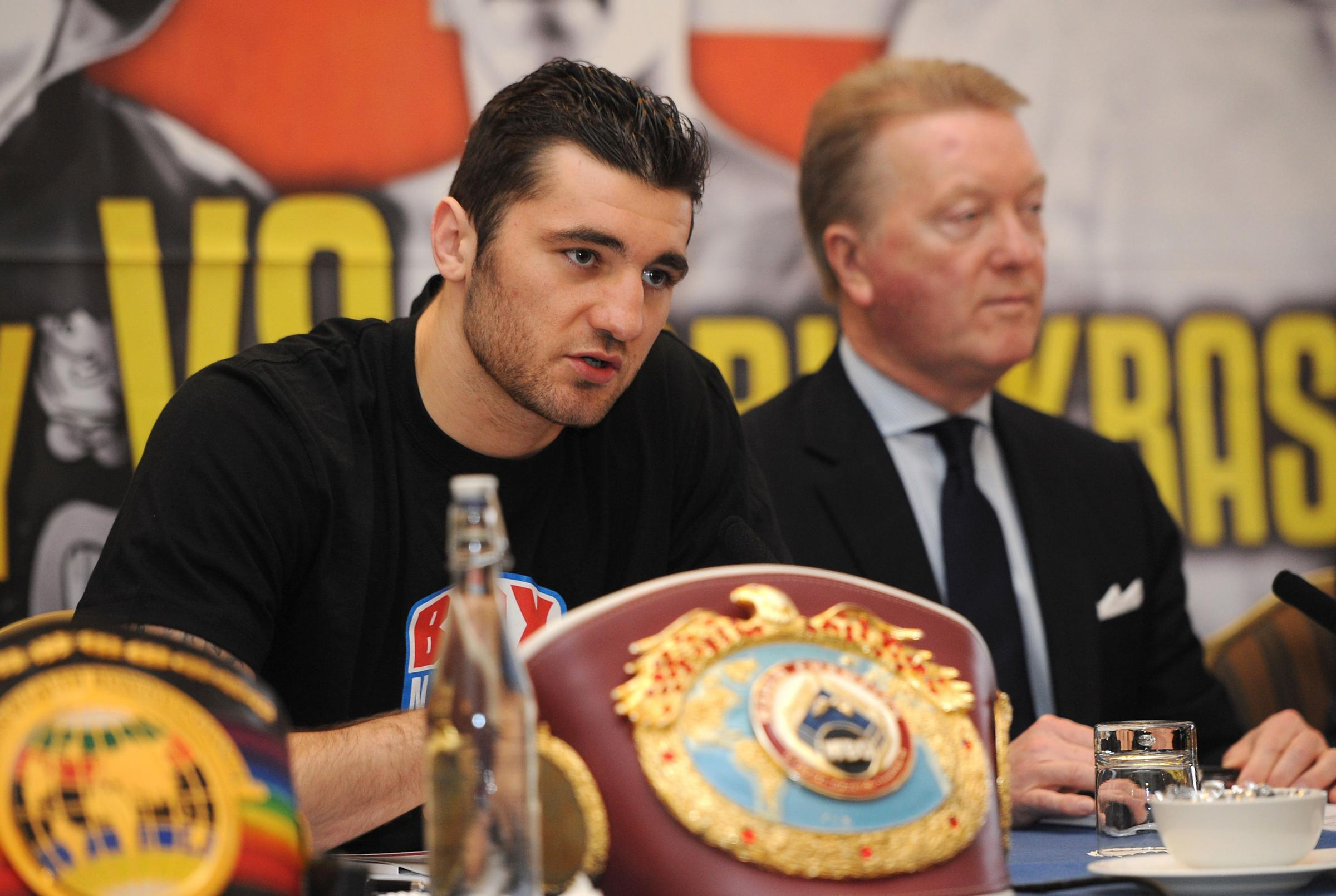 CONFUSION: Promoter Frank Warren, right, says Nathan Cleverly will fight on March 1. Cleverly is not so certain