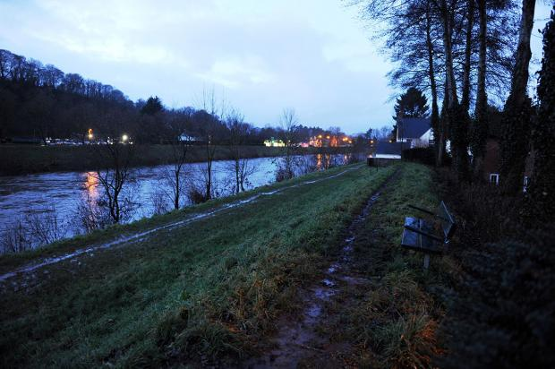 STRANDED: The man was helped to safety from a muddy river bank in Usk