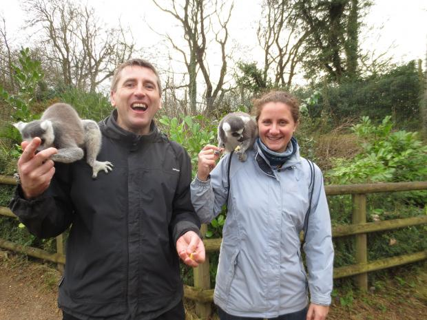 South Wales Argus: WILD: Emily and Ian Bristow who took part in be a zoo keeper at Dudley Zoological Gardens