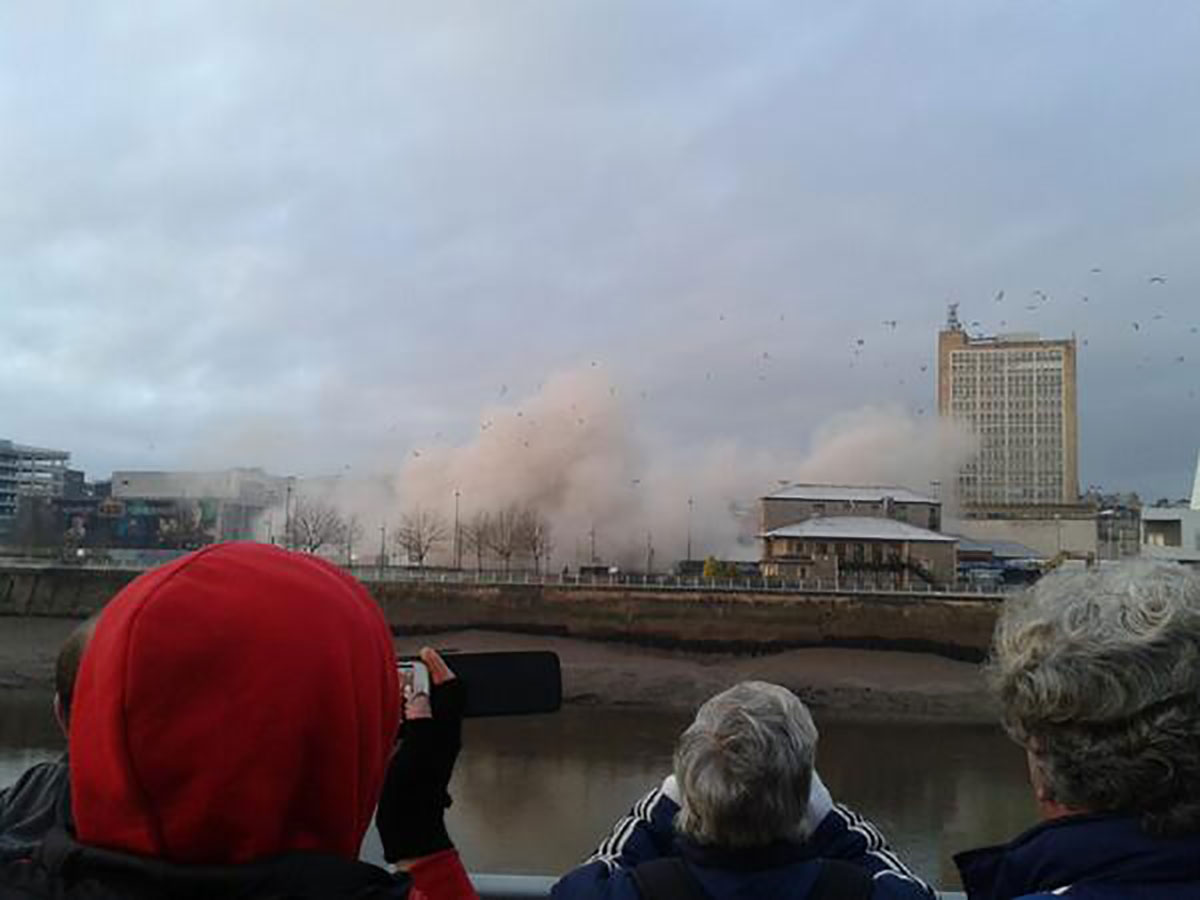 Crowds gasp as Newport car park is reduced to rubble