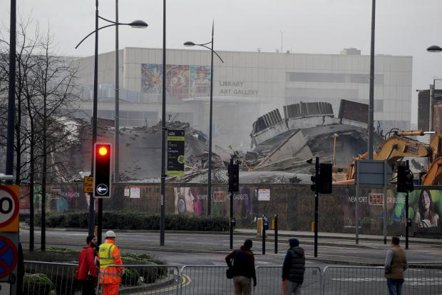 South Wales Argus: Demolition of the Capitol car park and old bus station in Newport City centre. (3377496)