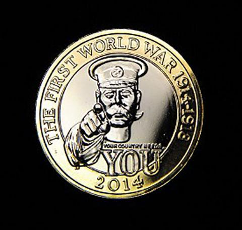 The Royal Mint's commemorative £2 coin shows an image of Lord Kitchener and the words 'Your country needs you'