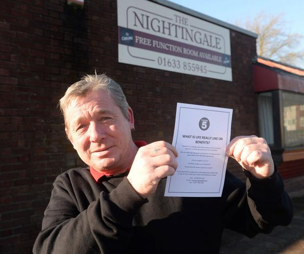 WOULDN'T APPEAR: Tony Sefton outside the Nightingale pub in Bettws with a flyer left by Channel 5 in the Nightingale pub