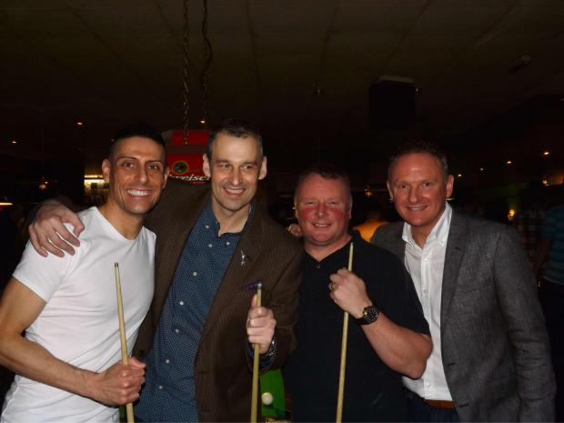 TEAMING UP: CJ de Mooi, Robert Harrhy, Andrew Corten and Mark King at the pool fundraiser
