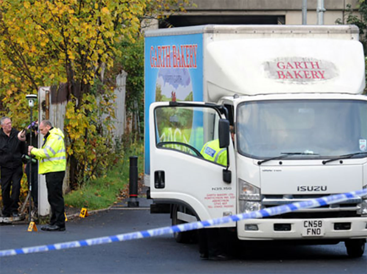 SCENE: Police at Newport's AF Blakemore Cash and Carry depot in Agincourt Street, Crindau, where the accident happened