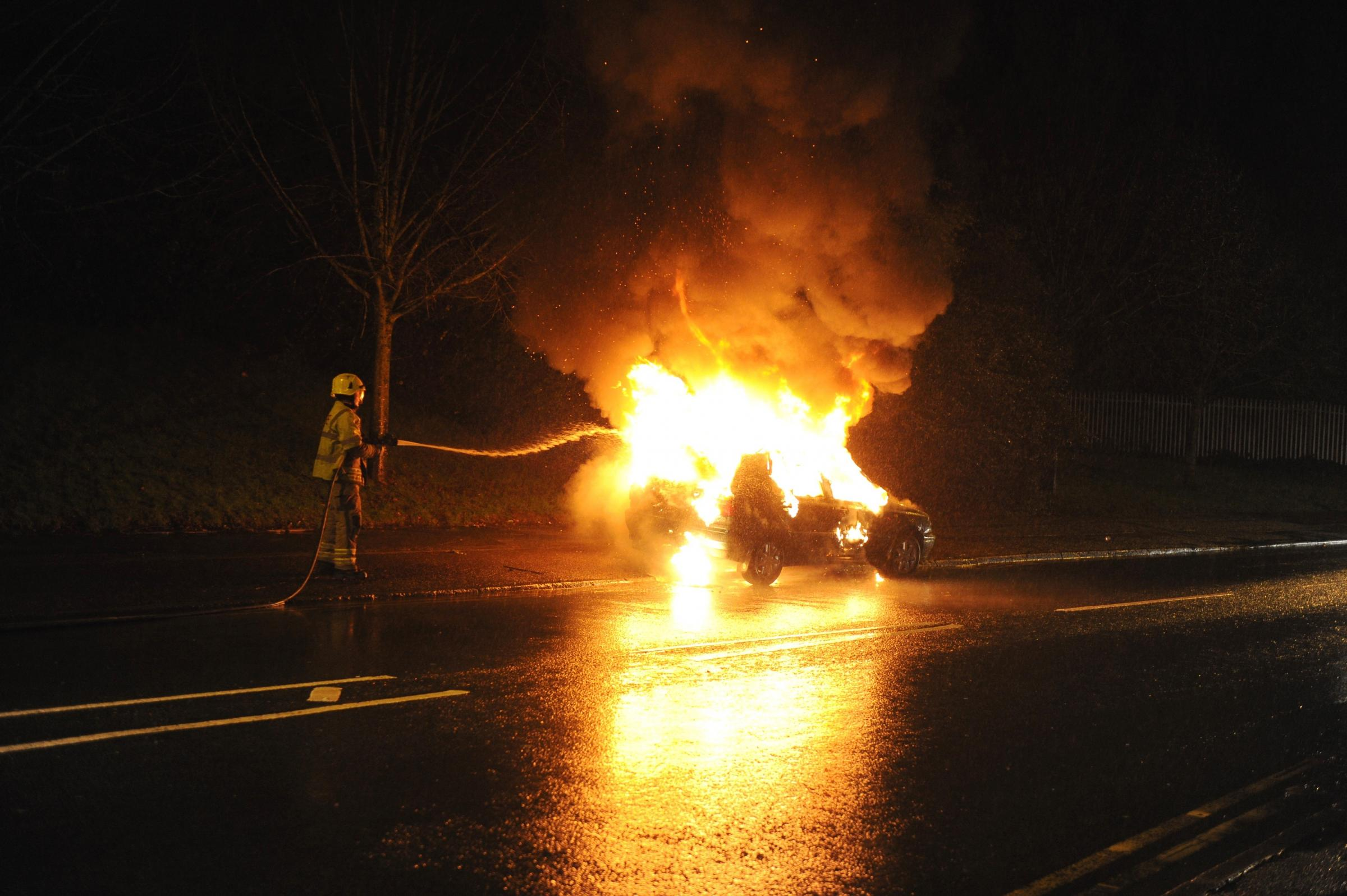 Pair have lucky escape after car bursts into flames in Newport