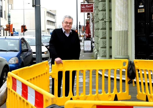 Restaurant owner Tony Gambarini outside his business in Lower Dock Street, Newport, where trade has been affected by the roadworks