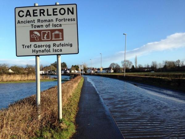 SOME DISRUPTION: The main road through Caerleon was closed due to flooding this morning