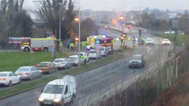 CRASH: Emergency services at the scene on the SDR yesterday (Photo by Simon Oliver)