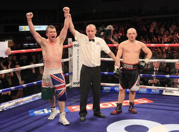South Wales Argus: JOY AND DESPAIR: The moment of victory for Gary Buckland over Gavin Rees in February