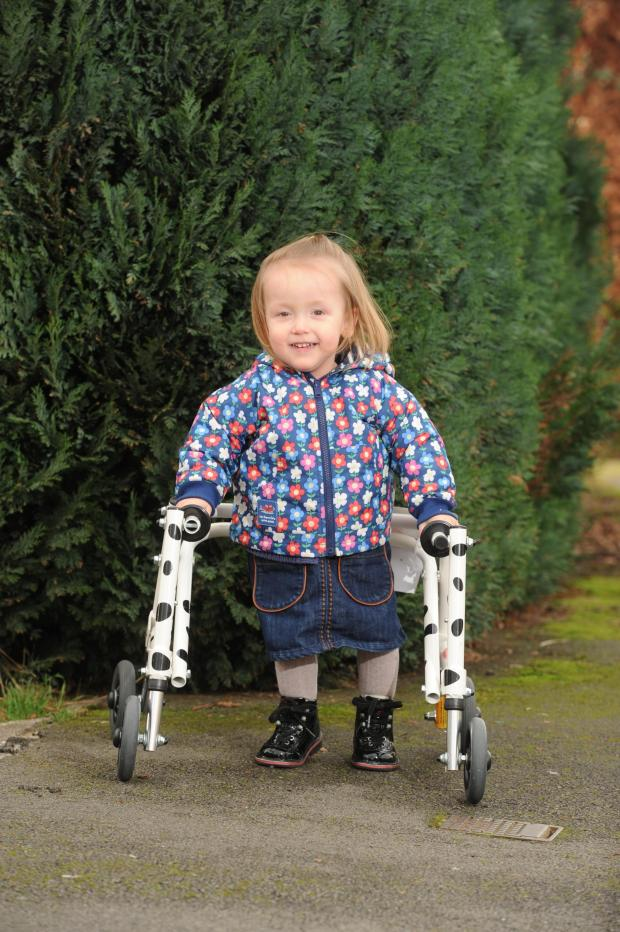 South Wales Argus: Imogen Ashwell-Lewis aged 2 from Caldicot has cerebal palsy spastic diplegia and her mum Catherine Ashwell-Rice is fundraising to raise £40,000 to fund a pioneering operation (3779282)