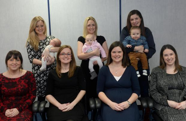 Top row (left to right) Angharad Morris with daughter Olivia, Laura Selby with daughter Charlotte, and Victoria Morgan with son Max. Front row (left to right) Vicky Marshall, Rebecca Baker, Jo Hiscocks and Helen Barry