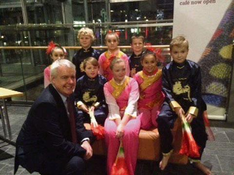 ENTERTAINING: Pupils met Carwyn Jones after their performance
