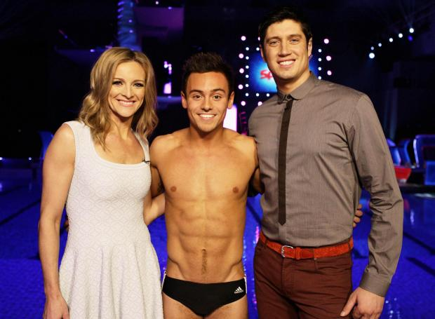 Splash presenters Gabby Logan and Vernon Kaye with Tom Daley