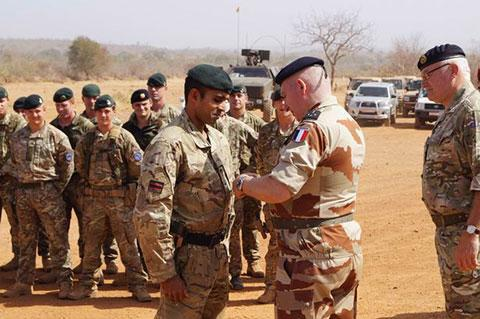 Rifleman Gigar Das is promoted to the rank of Lance Corporal in Mali by French Army General Bertrand Ract-Madoux