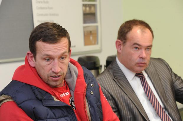 UNDER PRESSURE: Justin Edinburgh, left, with chief executive Dave Boddy