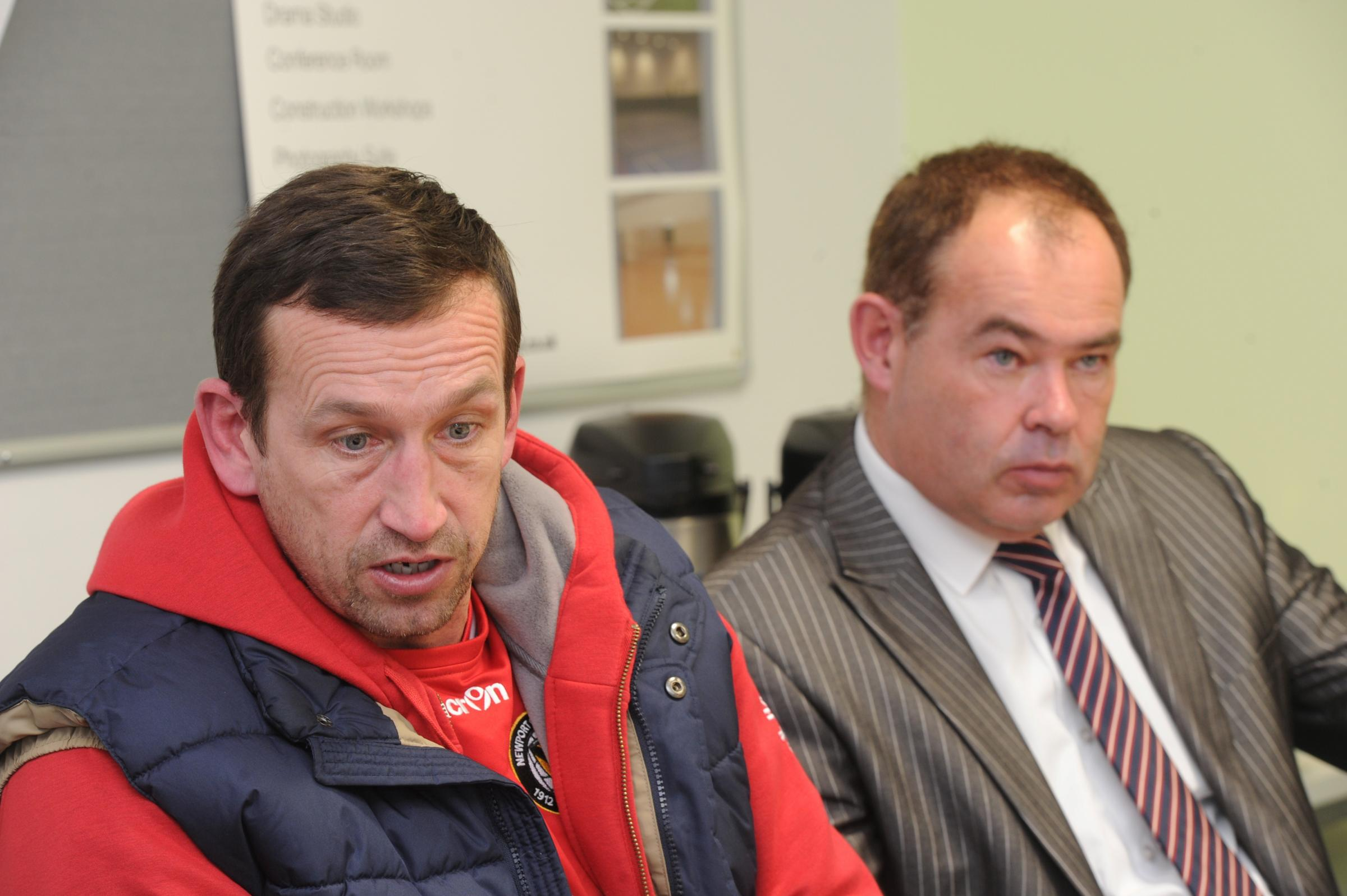 COUNTY CHIEFS: Manager Justin Edinburgh, left, and cheif executive Dave Boddy