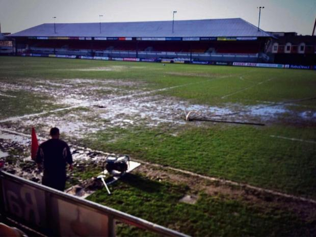 MUDBATH: Rodney Parade yesterday morning