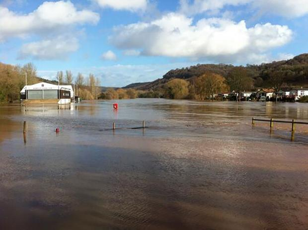 Grounds of Monmouth Rowing Club under water today