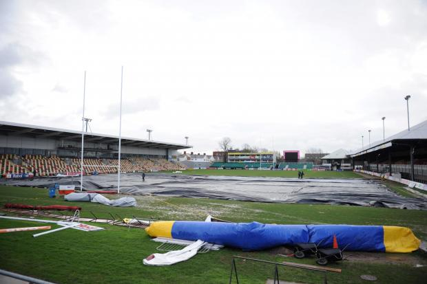 New pitch equipment arrived at Rodney Parade to aid ground staff in making the field playable for forthcoming fixtures.  Pictured are portable generators distributing hot air underneath the tarpaulin to dry the pitch out. (3930068)