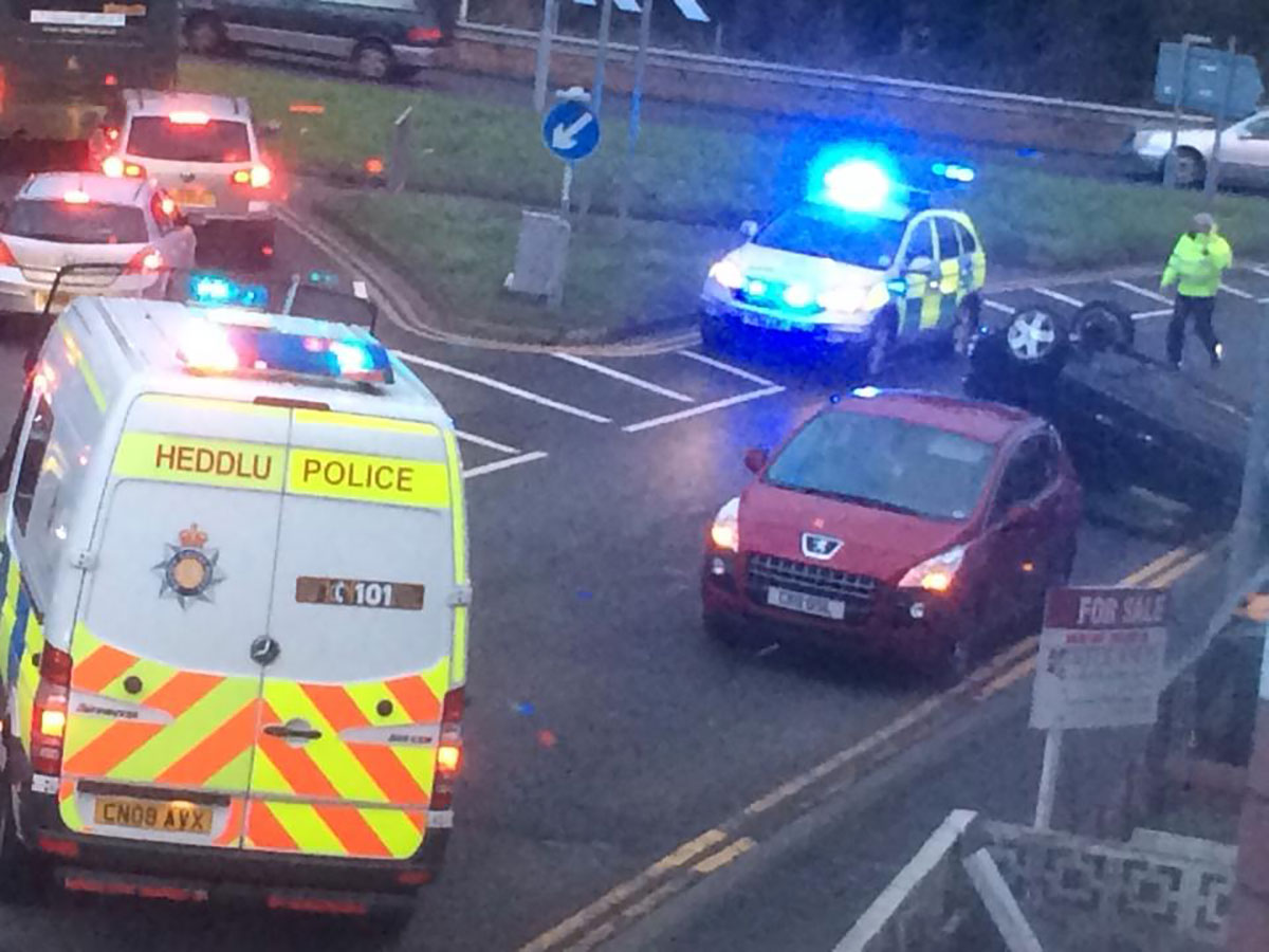 UPDATE: Car overturns on Caerleon Road, Newport