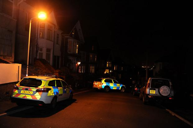 SCENE: Police on St John's Road in the Maindee area of Newport last night